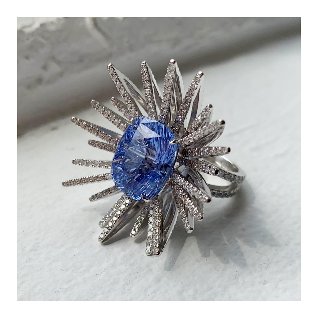 A Star Is Born ring in 18k white gold with a 10.5 ct. Sri Lankan blue sapphire and 2.73 cts. t.w. diamonds by Benny Hayoun of B & V Diamonds, Inc.
