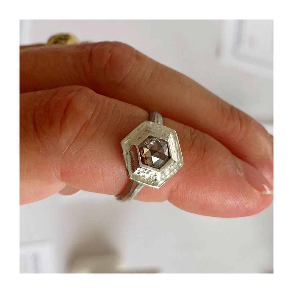 Temple ring in platinum with a 0.95 ct. brown diamond by Michael Endlich of Pave Fine Jewelry