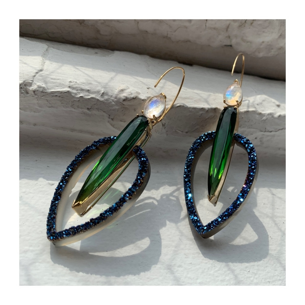 Drop earrings in 14k white and yellow gold with 17.62 cts. t.w. green tourmalines, 3.62 cts. t.w. rainbow moonstones, and blue druzy agate cutouts by Mark Loren