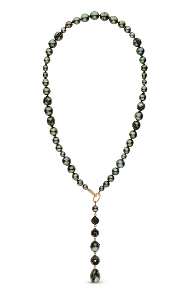 Necklace in 14k yellow gold with 6–13 mm cultured Tahitian pearls with 9 cts. t.w. of black diamonds set into the pearls as geodes by Hisano Shepherd of little h.