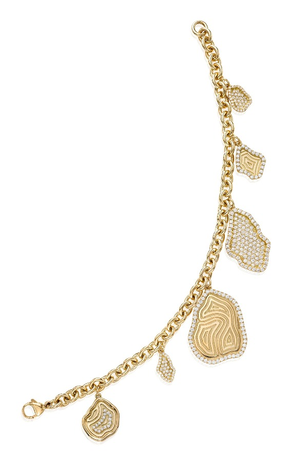 Kimberly McDonald charm bracelet in 18k yellow gold with diamonds