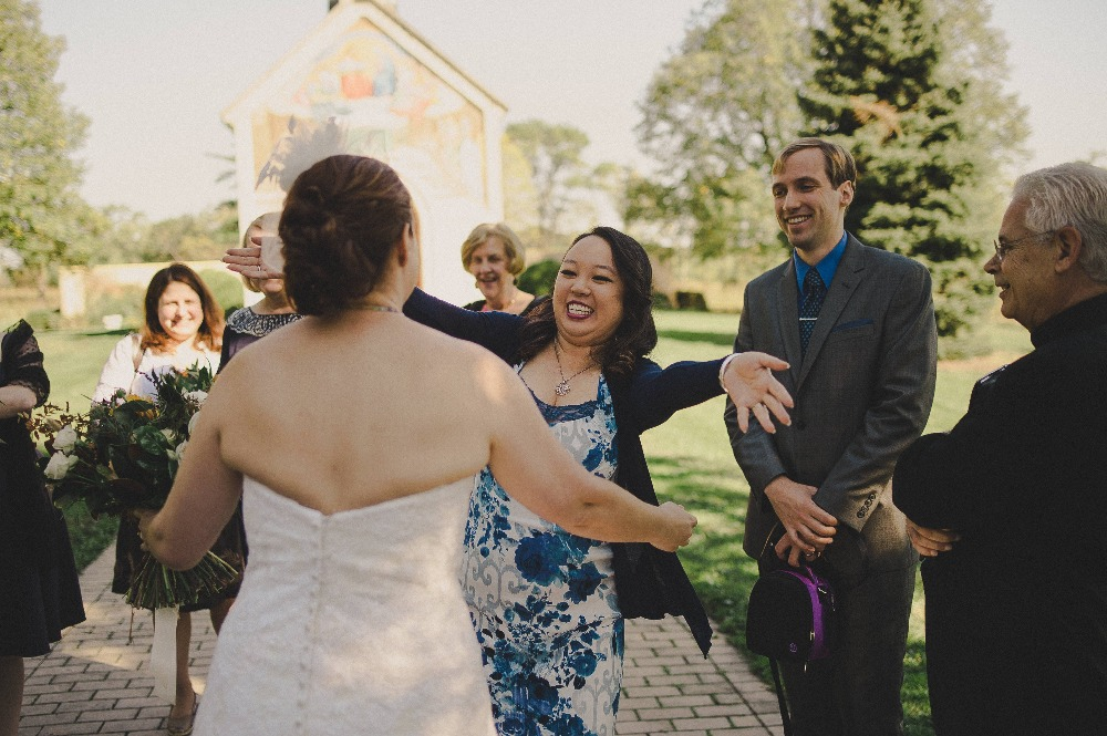 Stephanie and Carolyn finally meet at the wedding in October 2016.