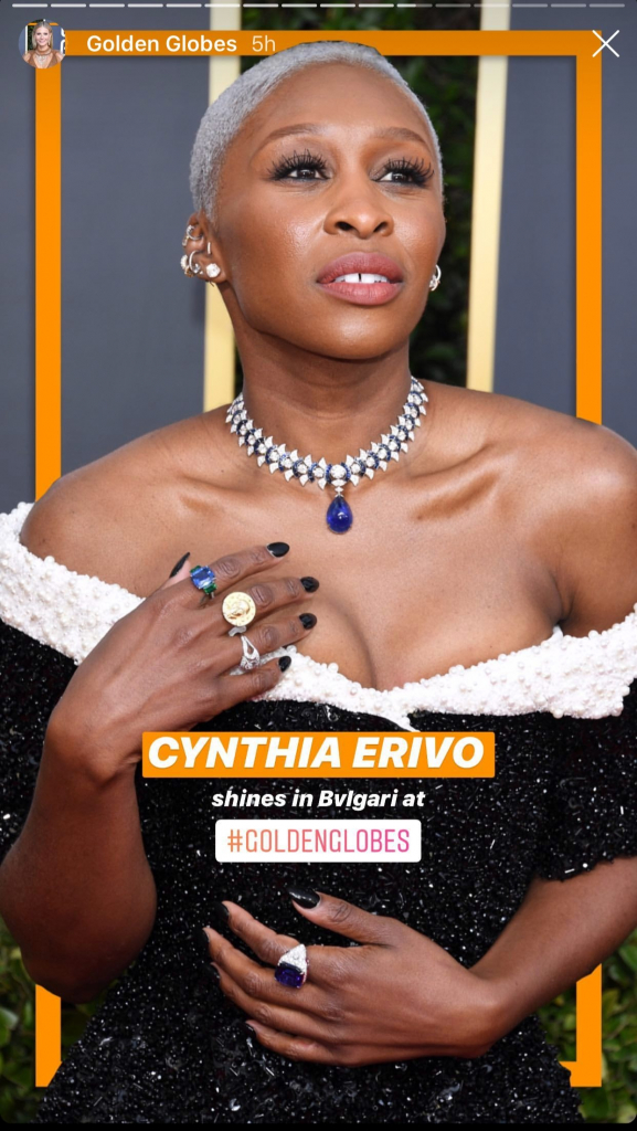 "Cynthia Erivo, nominee for Best Performance by an Actress in a Motion Picture Drama for ""Harriet,"" in a masterful diamond and sapphire necklace made by Bulgari.  Photo: @bulgariofficial"