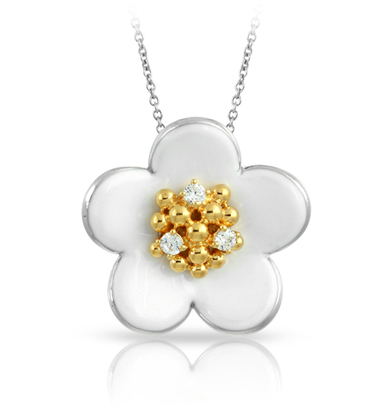 Daisy chain pendant necklace in sterling with rhodium plating, enamel, and CZ, $175; available online at Davis Jewelers