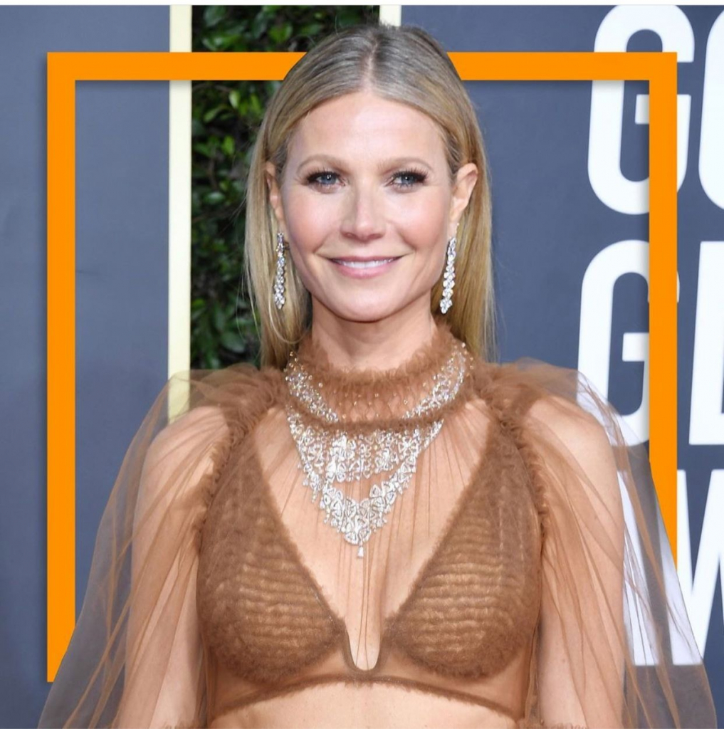 Actress and presenter Gwyneth Paltrow in two Forever High Jewelry necklaces with diamonds from Bulgari.  Photo: @bulgariofficial