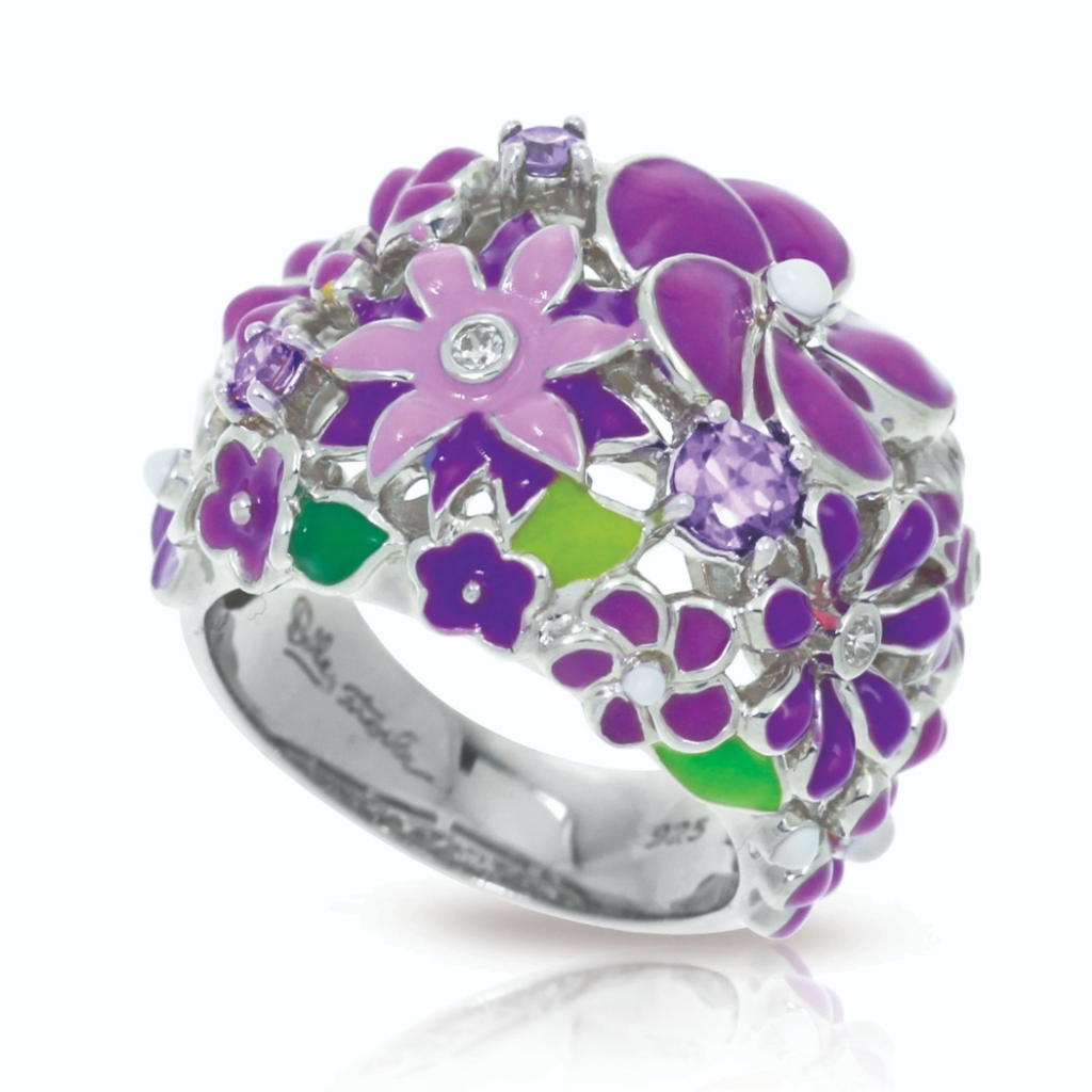 Jardin ring in sterling with rhodium plating, enamel, and CZ, $210; available online at Sachs Jewelers