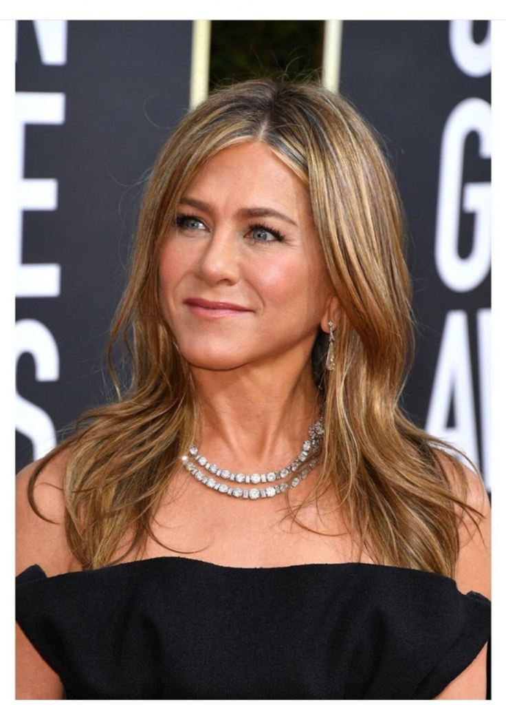 "Jennifer Aniston, presenter and nominee for Best Performance by an Actress in a Television Series Drama for ""The Morning Show,"" in a vintage 1950s Cartier necklace loaded with diamonds from Fred Leighton Jewels. Photo: @leightonjewels"