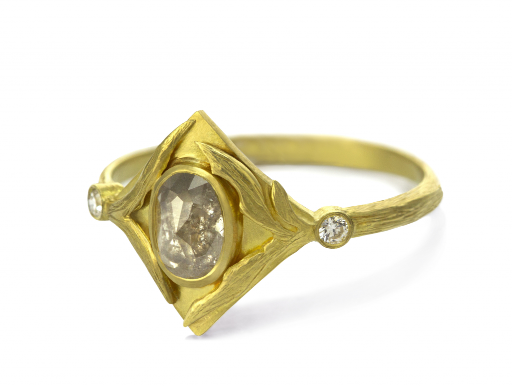Lemongrass ring in 18k yellow gold with a 0.61 ct. rose-cut diamond center and 0.04 ct. t.w. brilliant-cut diamonds, $2,370; email Laurie@lauriekaiser.com for purchase.