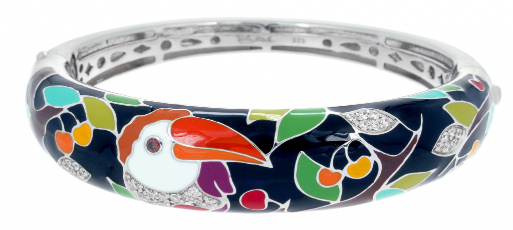 Love Toucan bangle in sterling with rhodium plating, enamel, and CZ, $450; available online at August Stephenson Jewelry
