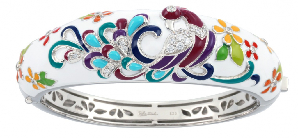 Peacock bangle in sterling with rhodium plating, enamel, and CZ, $625; available online at Hawaiian Island Jewelry