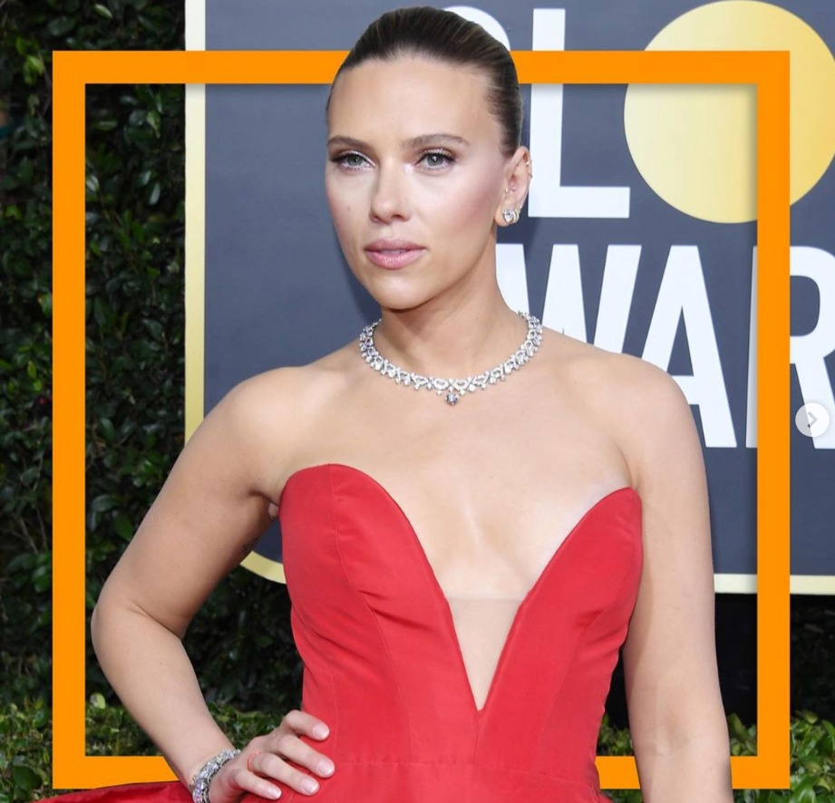 "Scarlett Johansson, nominee for Best Performance by an Actress in a Motion Picture Drama for ""Marriage Story,"" in a platinum choker with diamonds, including a drop pendant, from Bulgari. Photo: @bulgariofficial"