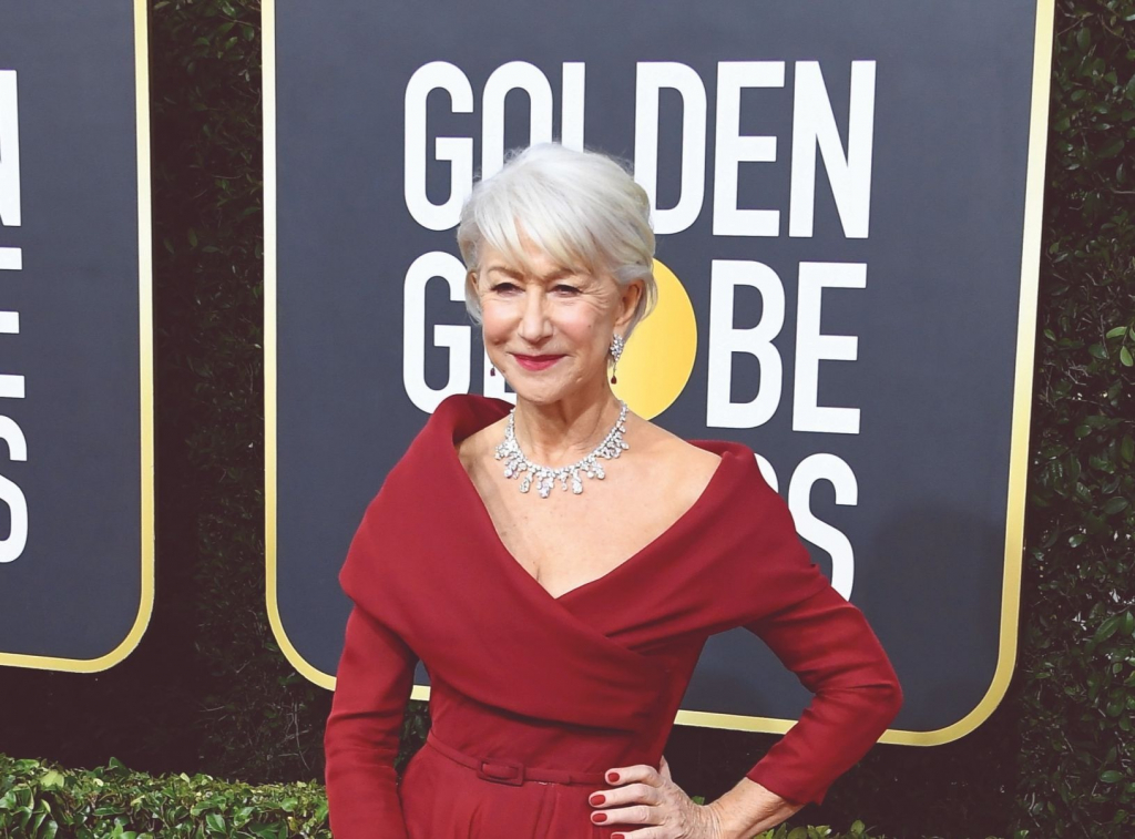 "Helen Mirren, presenter and nominee for Best Performance by an Actress in a Limited Series or Motion Picture Made for Television for ""Catherine the Great,"" in a cascading diamond drop necklace in platinum by Harry Winston. Photo: Harry Winston/Steve Granitz/Getty Contributor"