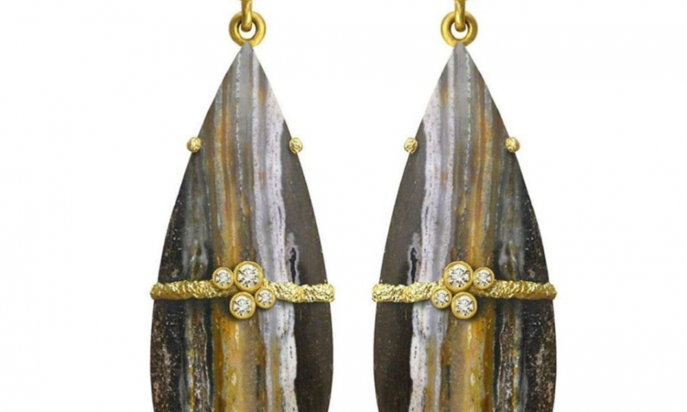 Fresco Stripe earrings in 18k yellow gold and blackened sterling silver with 75 cts. t.w. petrified wood cabochons and 0.25 ct. t.w. brilliant-cut diamonds, $3,840; email Laurie@lauriekaiser.com for purchase.