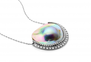 I Put a Spell on You necklace in in 18k recycled white gold with Fair Trade Sea of Cortez pearls and 1.42 cts. t.w. F-color, VS-clarity, Fair Trade diamonds, $10,840; available online at Ana Katarina