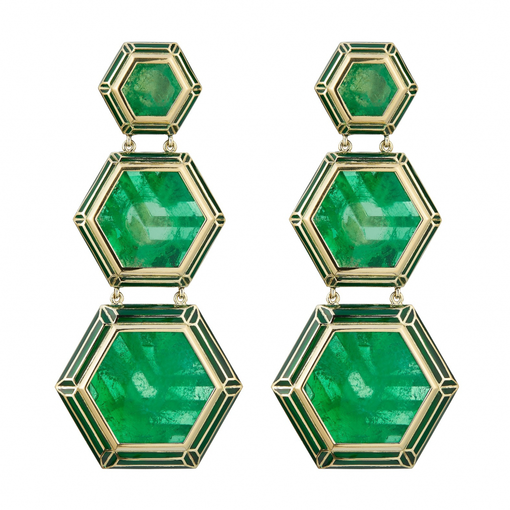 Earrings in ethical gold, enamel, and emeralds from Alice Cicolini