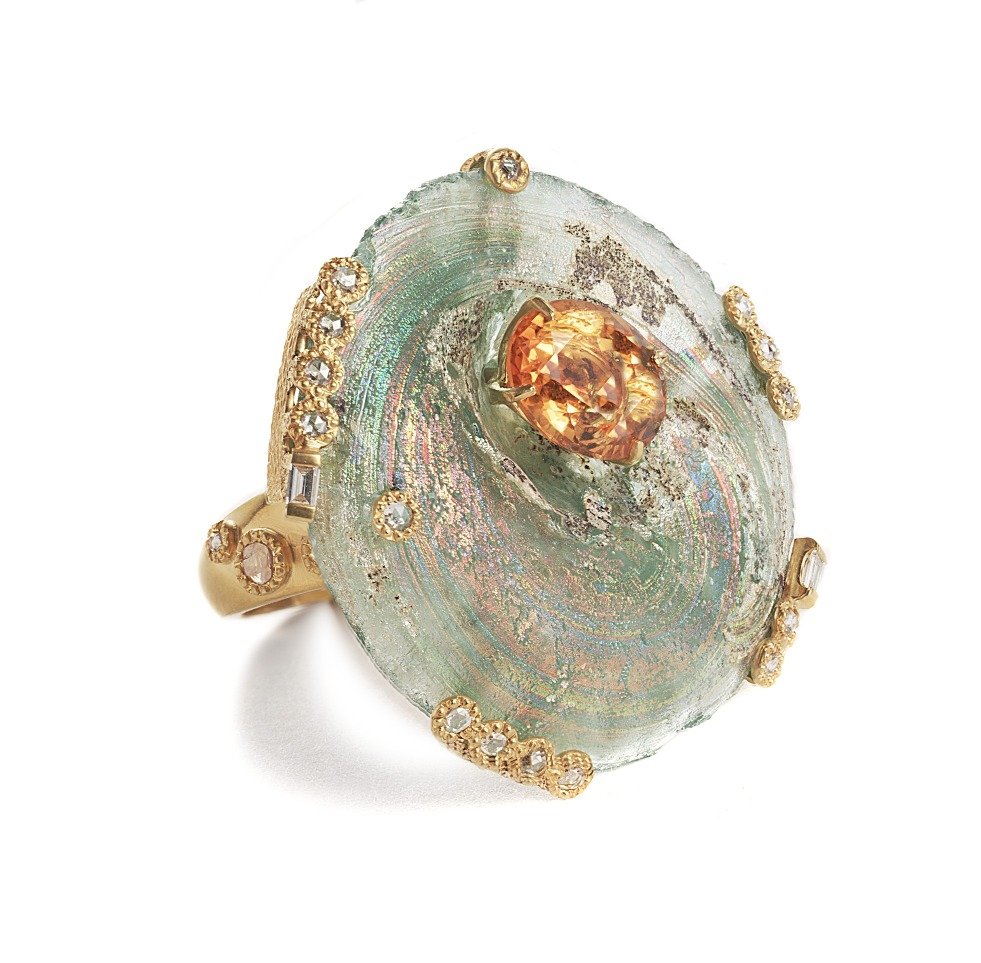 Ring in ethically sourced gold with ancient Roman glass and gemstones by Coomi