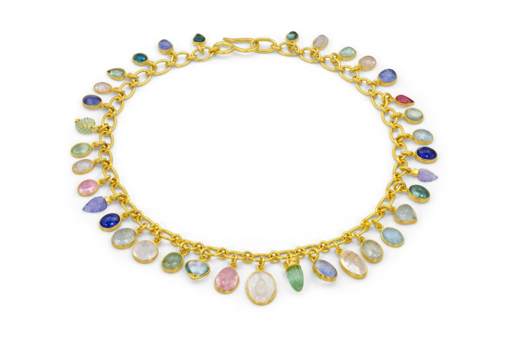 Necklace in ethically sourced gold and gemstones by Loren Nicole