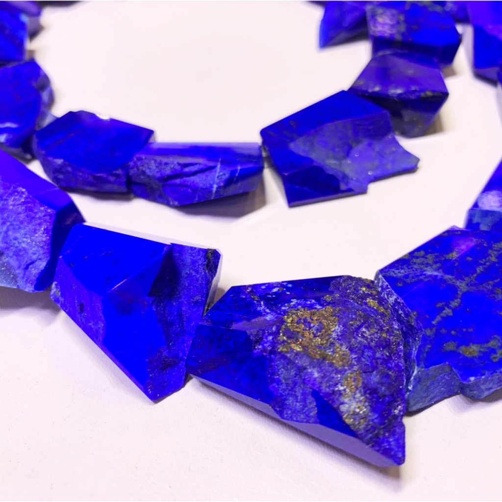 Randomly faceted strands of untreated bright blue lapis from Afghanistan that are cut in Brazil start at $5,070 triple keystone; email robertbentley3@me.com for purchase.