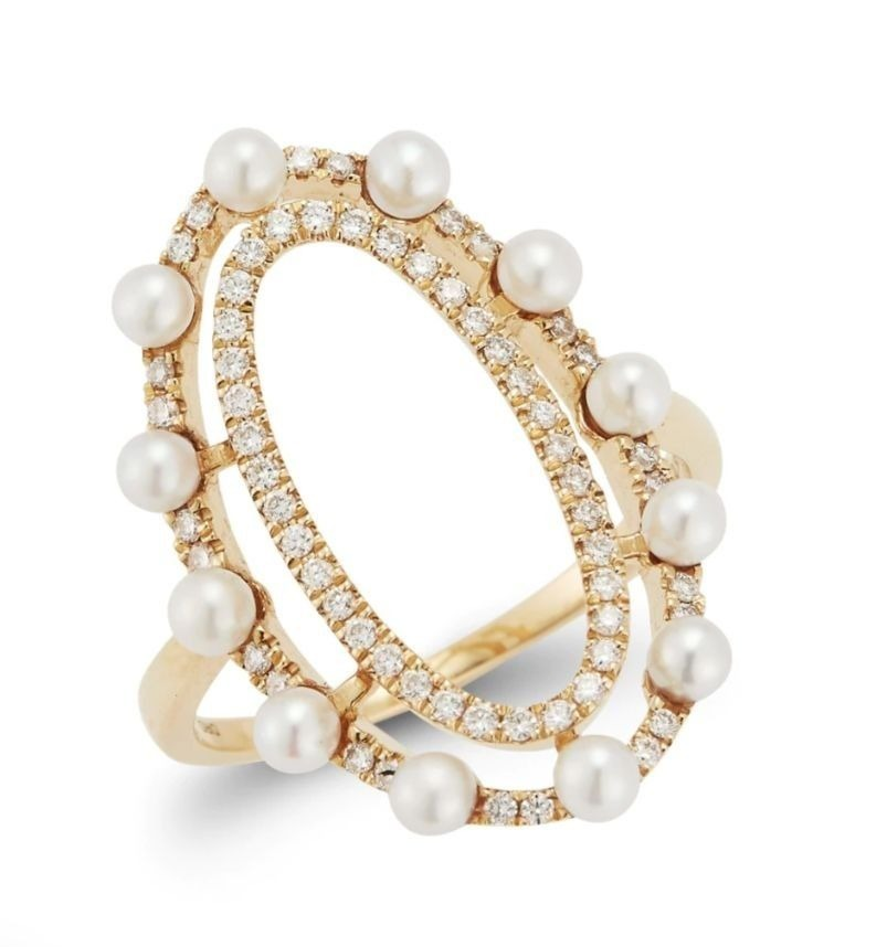 Elongated cocktail ring in 14k yellow gold with 2.5 mm freshwater pearls and 0.28 ct. t.w. diamonds, $1,210; available online at danarebeccadesigns.com.