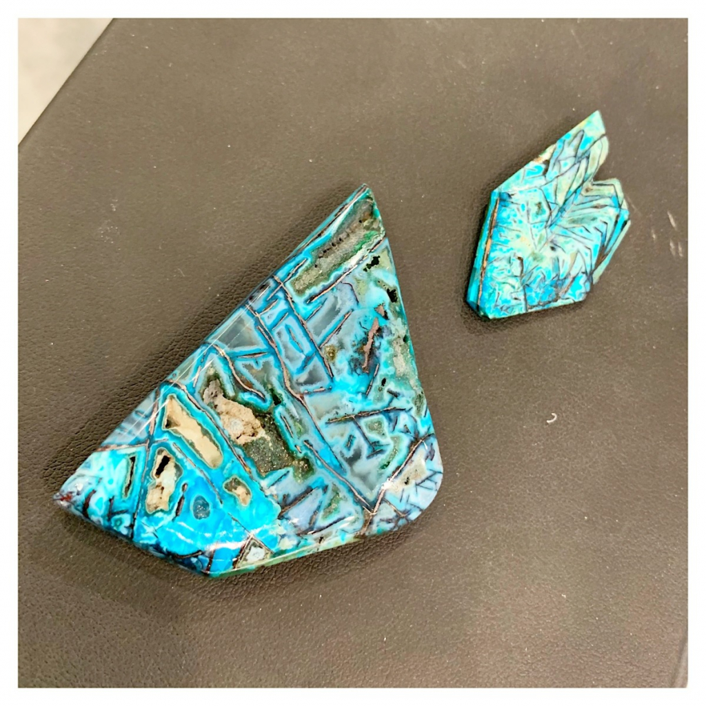 Blue opal native copper is a type of petrified wood, and prices per piece start at $195 triple keystone; email glasater@gmail.com for purchase.
