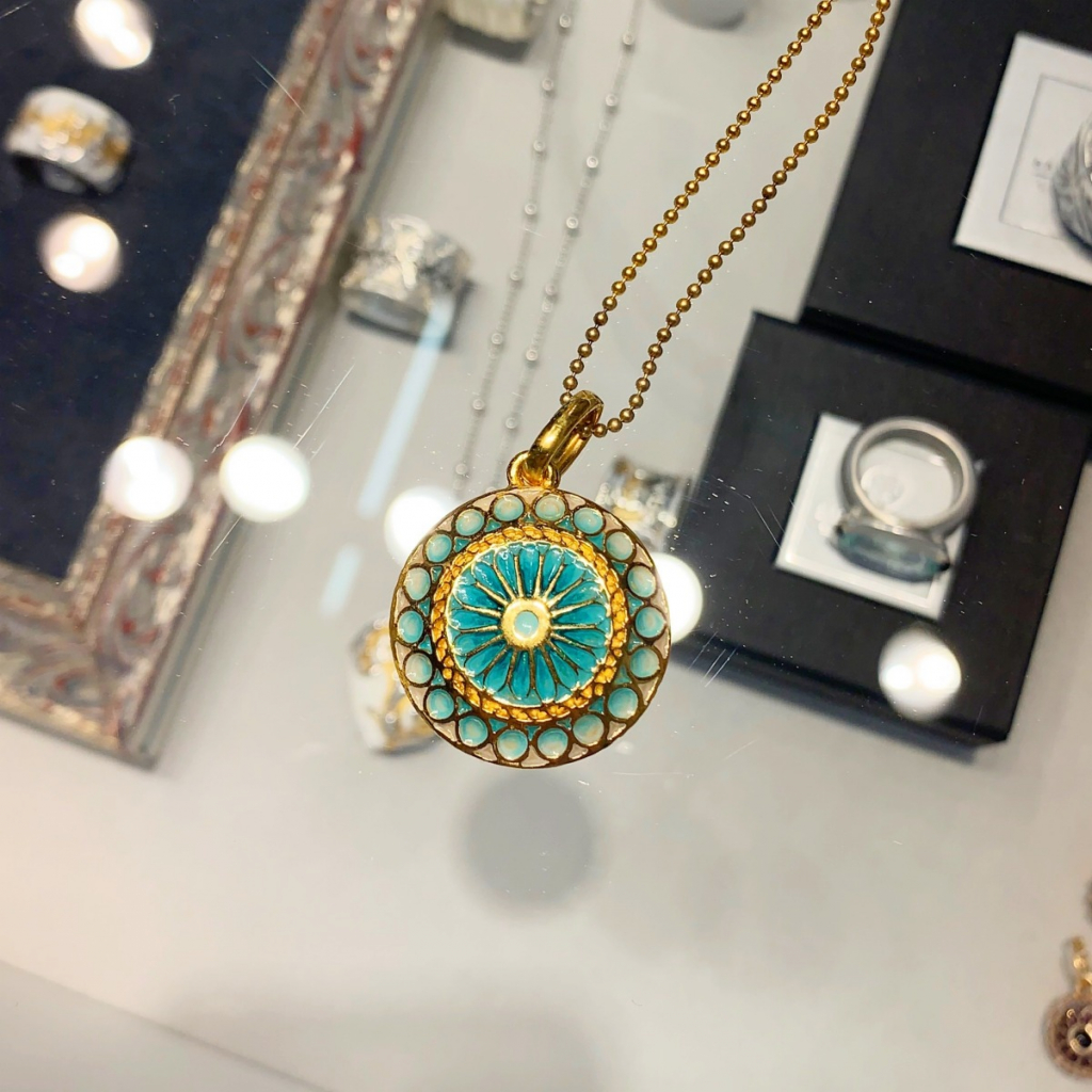 Locket necklace in 24k gold-plated silver with lacquer, €970; email b.haas@barbara-haas.de