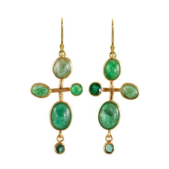 Hand-wrought Bubble earrings in recycled 18k gold with 12.90 cts. t.w. cabochon-cut and faceted Colombian emeralds, $5,635; available online by Margery Hirschey