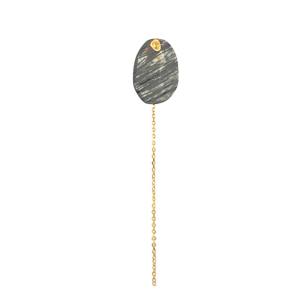 Single earring in 14k yellow gold with a removable green rutilated quartz, allowing the earring to be worn as a stud with a two-inch dangling chain, $285; by Monaka Jewelry, available online at The Clay Pot