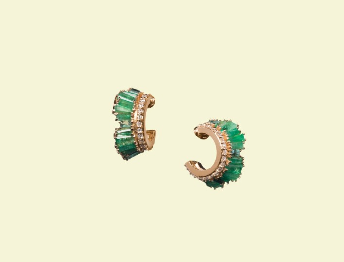 Petite Ruched hoops in 20k recycled rose gold with custom-cut African emeralds and 0.32 ct. t.w. colorless diamonds are ½ inch in diameter, $5,850; available online at Nak Armstrong 20 percent of proceeds through the end of March benefit No Kid Hungry)