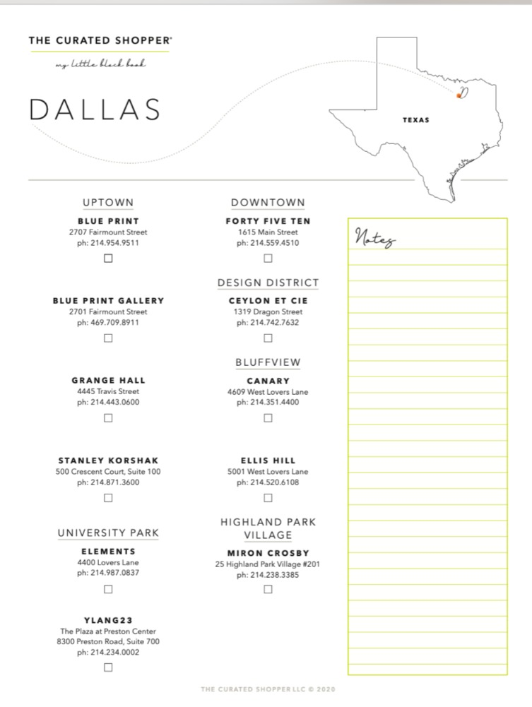 A downloadable list of stores to visit in Dallas from The Curated Shopper