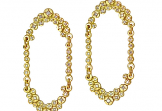 Myrrh earrings in 18k yellow gold with 1.1 cts. t.w. conflict-free diamonds, $5,360; available online at Chandally