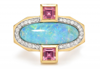 Mermaid ring in 18k yellow gold with opal, pink spinel, and colorless diamonds, $9,800; available online at Emily P. Wheeler