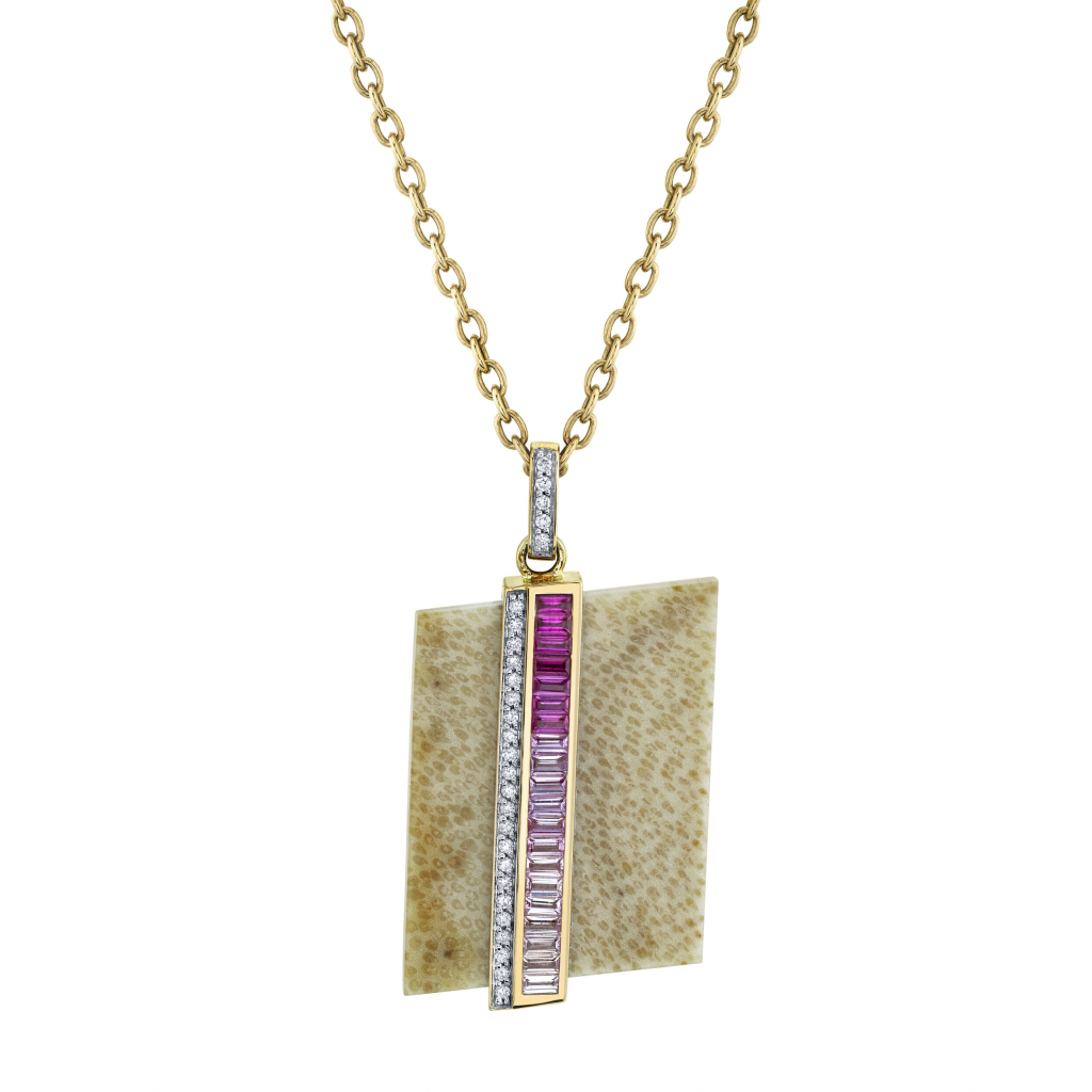 Swell necklace in 18k rose gold with petrified palm wood, ombre pink sapphire baguettes, and pavé colorless diamonds, $4,800; available online at Emily P. Wheeler