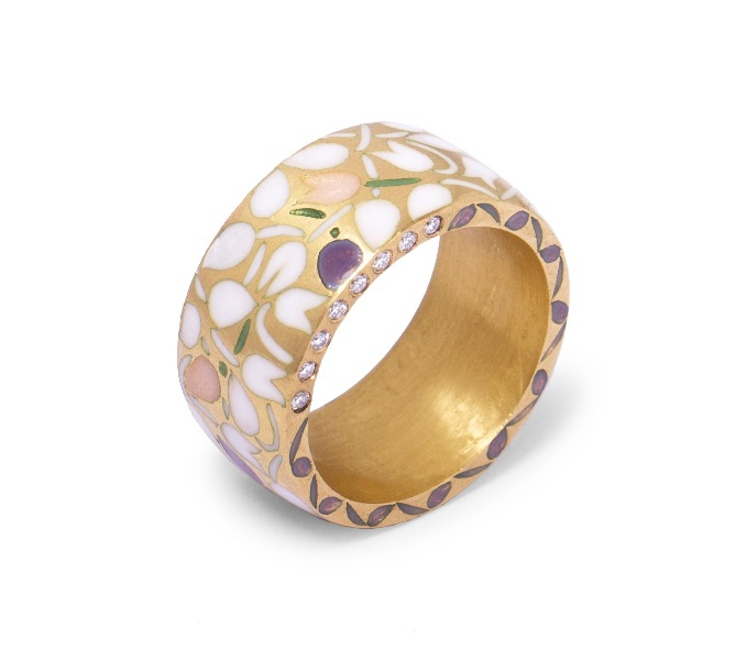 Mogra Ananta band in 22k gold with vitreous enamel and diamonds, $5,700; available online at Metalmark Fine Jewelry