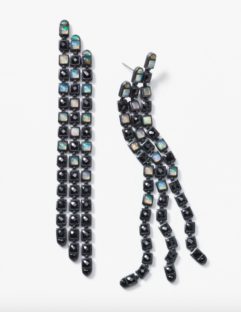 Triple Line earrings in sterling silver with a black rhodium finish and rose-cut, cushion- and half-moon-shape black spinel and Ethiopian opal, $1,875; available online at Nak Armstrong