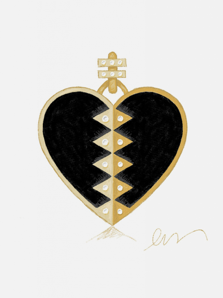 Heart necklace in 18k gold with black onyx and diamonds, $2,500; available online at Harwell Godfrey