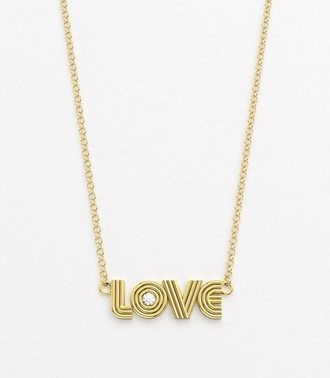 Love necklace in 14k yellow gold with a 0.025 ct. diamond, $835; available online at Alexa Sidaris