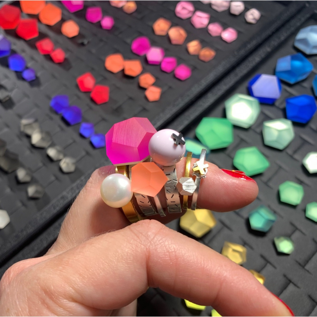 Retail prices for interchangeable rings in sterling silver and 24k gold plate with geometric-shape resin or metal tops start at €30; email pistachiosjewelry@gmail.com at Pistachio in Chicago for availability and purchase.