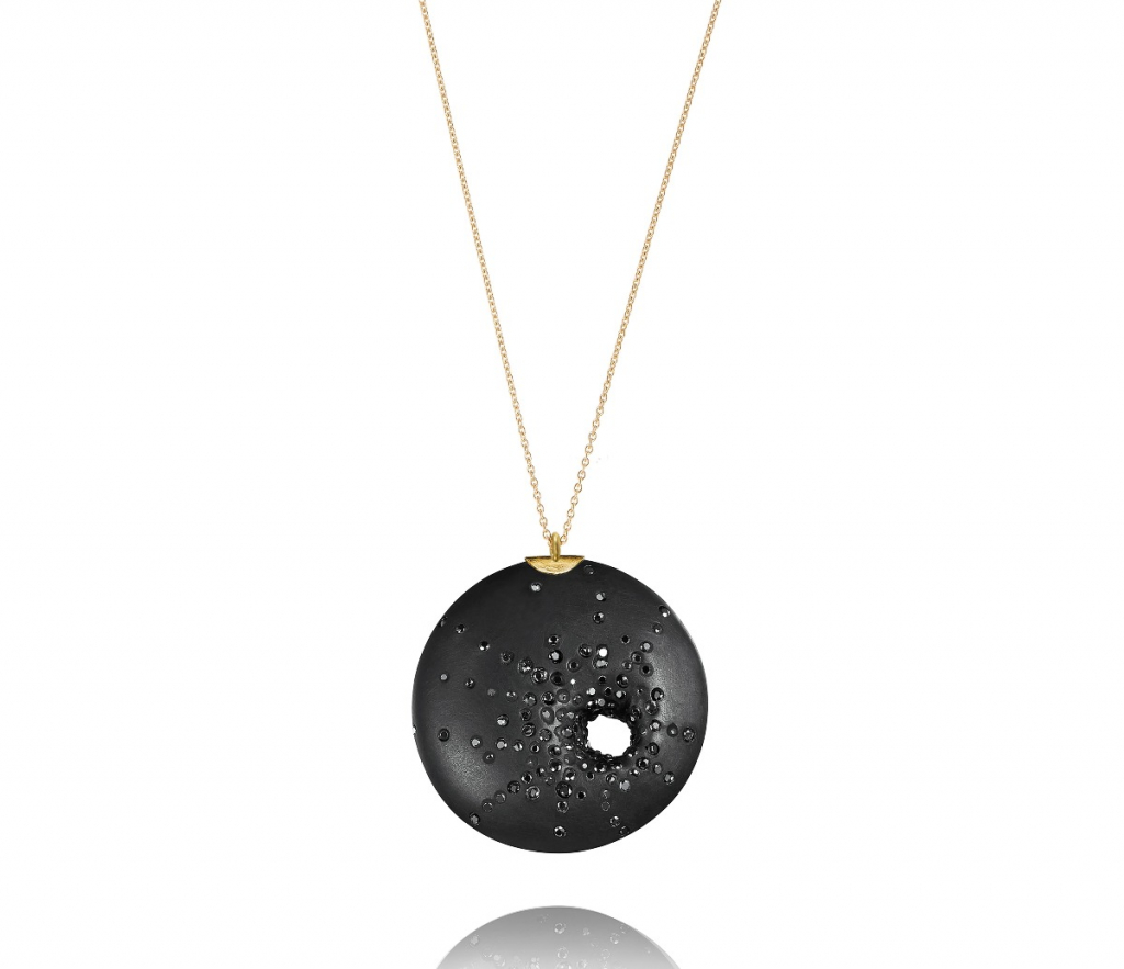 Pendant necklace in 18k yellow gold with round brilliant black diamonds, $1,265; email info@jacquelinecullen.com for purchase