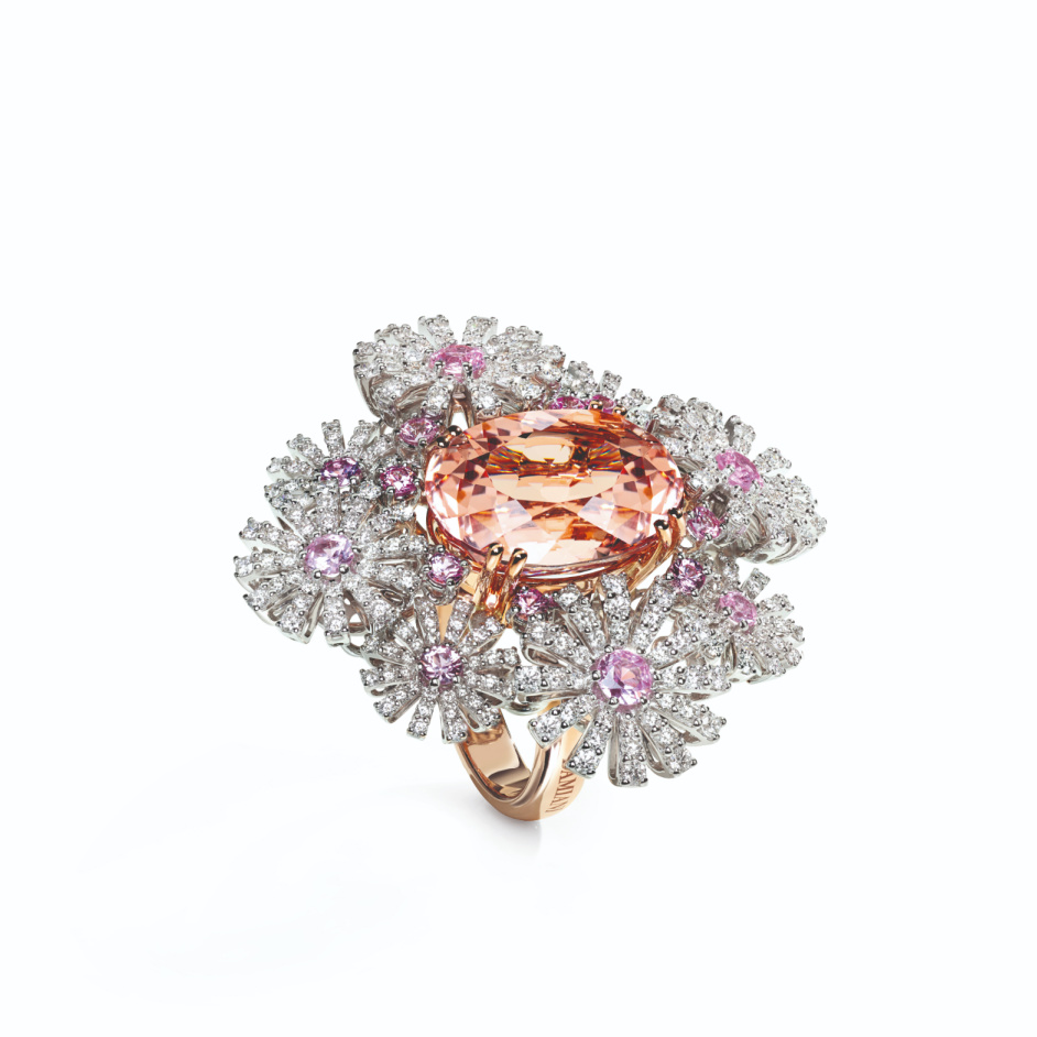 Margherita ring in 18k rose gold with morganite, pink sapphires, and colorless diamonds, €25,000; email giancarlo.parolini@damiani.com for purchase