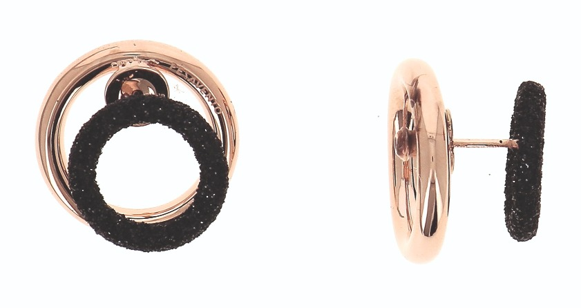 Double Your Charm Polvere Di Sogni Mini Circle earring in silver with rose gold plating and the brand's proprietary surface texturing, $475; email ecornfield@gioielligroup.com for purchase