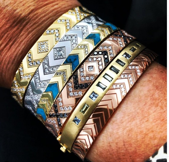 Jewelry Designer: Cuff bracelets in 18k with diamonds and turquoise inlay (the fifth cuff belongs to another brand); DM @ambrevictoria on Instagram for purchase info.