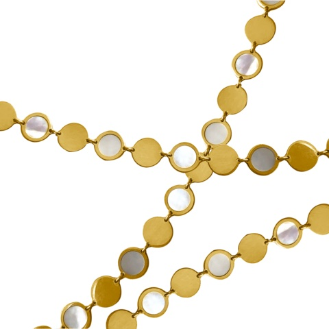 Jewelry Designer: Boheme Confetti chain in 14k yellow gold is 16 inches and has white mother-of-pearl, $1,625; available online at Delphine Leymarie.