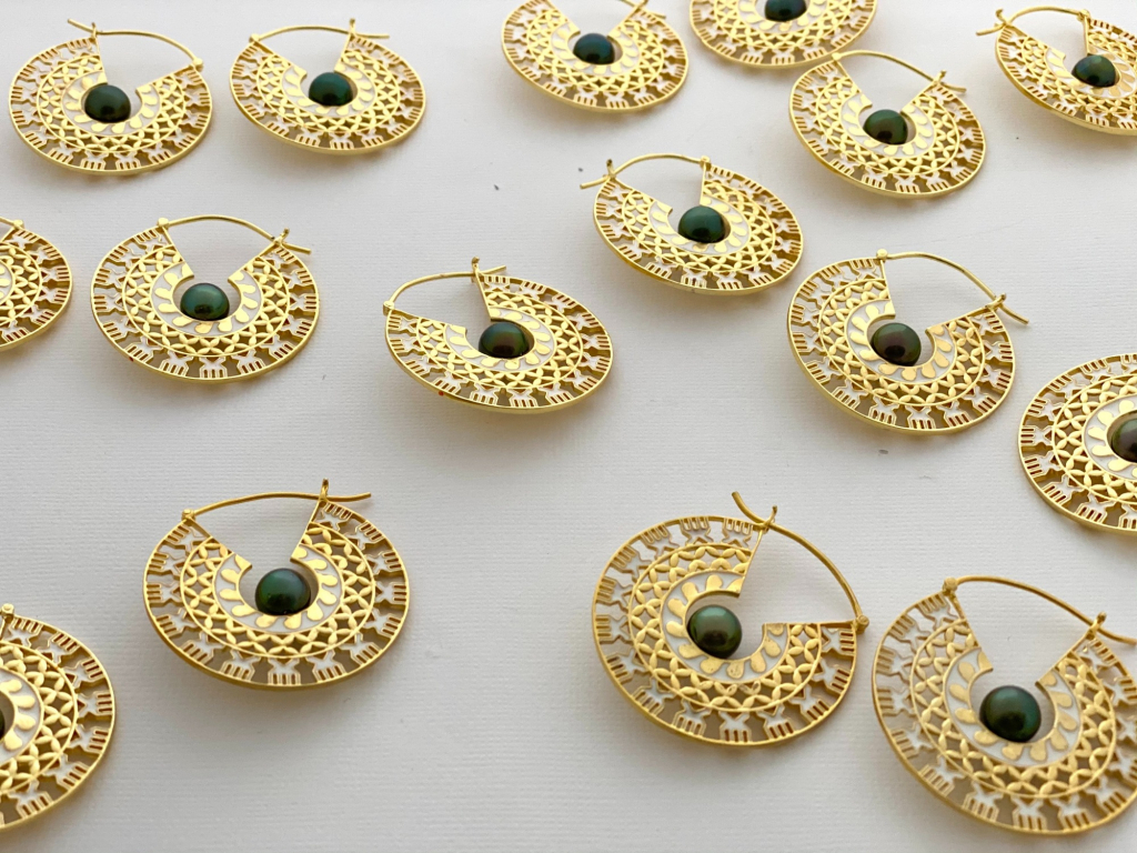 Moana hoop earrings in gold fill with Tahitian pearls, $680 NZD; available online at Shahana Jewels