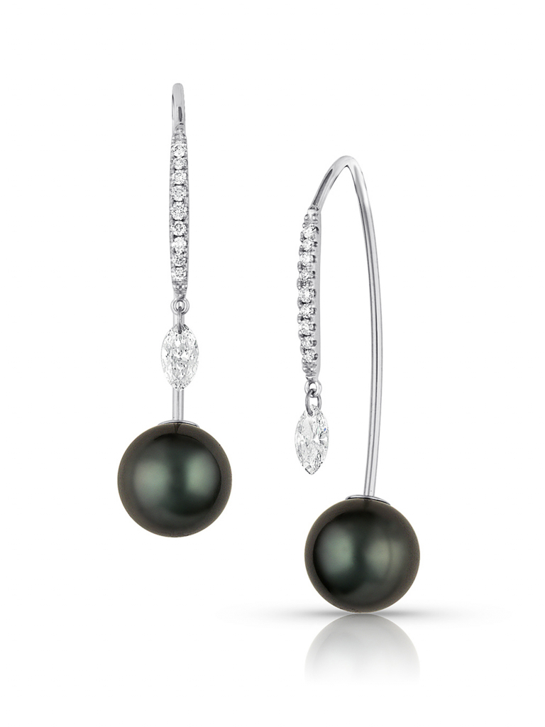 Drop earrings in 18k white gold with 8–9 mm Tahitian pearls and 0.30 cts. t.w. diamonds, $3,000; Baggins Pearls, available online at Baggins Pearls