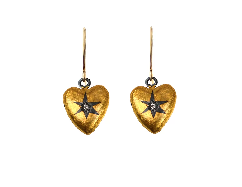 Heart-wrapped Star earrings in oxidized silver with 24k gold and diamonds, $560; available online at Acanthus