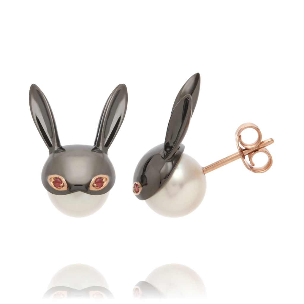 Lady Mischievous earrings in 18k rose gold with black rhodium, freshwater pearls, and pink tourmaline by Mika Murai, jewelry designer, Mika Jewellery, Japan