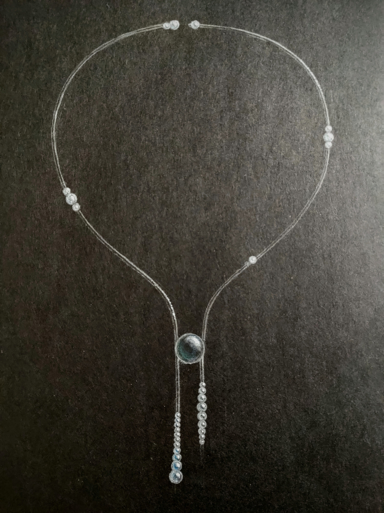 Dewdrop necklace in 18k white gold with black rhodium, white South Sea pearls, and a Tahitian pearl by Hanna Korhonen, Hanna K. Design, Finland