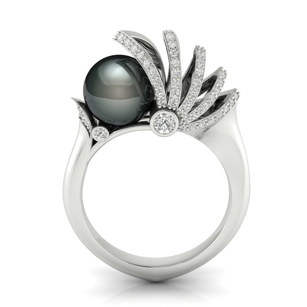 Sailing Pearl ring in 18k white gold with diamonds and an 8 mm black pearl by W.A. Chamal Jayaratna, founder EON Master Model, Sri Lanka