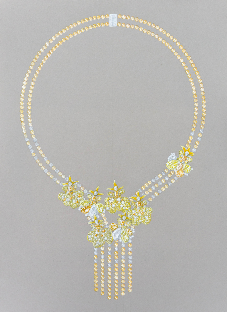 Dancing Lady Orchids features white, cream, and gold akoya pearls, yellow enamel, citrine, and white and yellow diamonds by Chu Yuen Yu, student at Accademia Italiana, Rome
