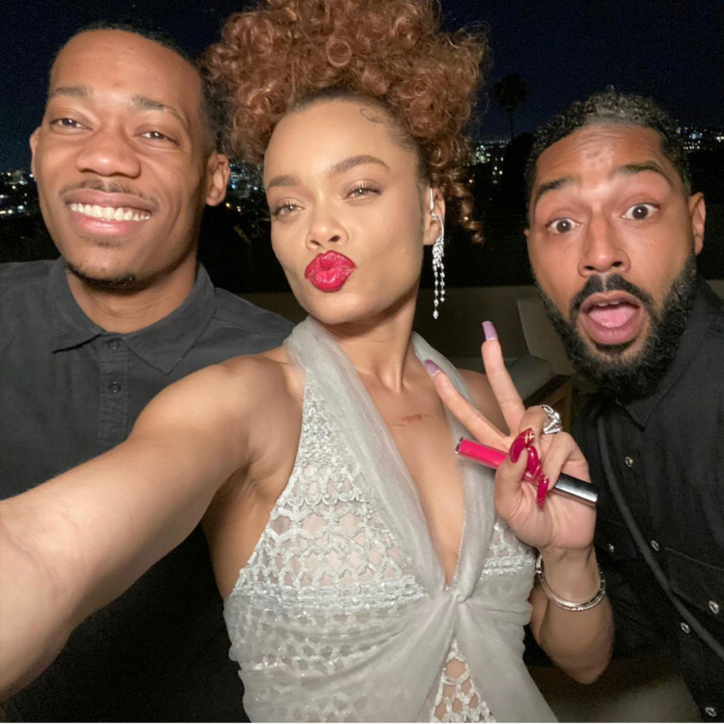 """Andra Day in Chanel (Day is shown with Tyler James Williams and Tone Bell). Day won Best Actress – Motion Picture Drama, for her role in """"The United States v. Billie Holiday."""" Source: @andradaymusic"""